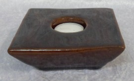 Ceramic Square Brown Tea Light Holder.