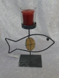 Black Metal Fish Stand Tea Light Holder