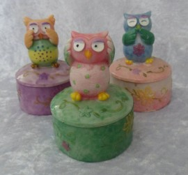 Set of 3 Owl Jewellery Boxes/Trinkets - See No Evil, Hear No Evil & Speak No Evil