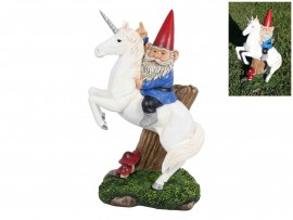Fantasy Gnome Riding Unicorn Statue