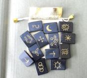 Thirteen (13) Piece Black Jasper Witch's Rune Set & Pouch