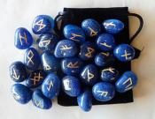 25 Piece Futhark Blue Onyx Gemstone Rune Set