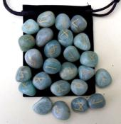 25 Piece Futhark Green Aventurine Rune Set with Pouch