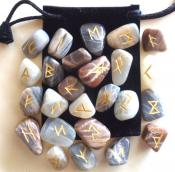 25 Piece Futhark Moonstone Gemstone Rune Set