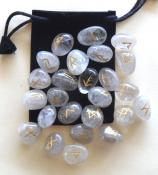 25 Piece Futhark Smoky Quartz Gemstone Rune Set