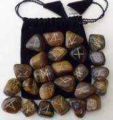 25 Piece Futhark Tiger Eye Gemstone Rune Set with Pouch