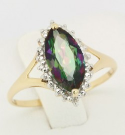 Yellow Gold Mystic Topaz & Diamond Ring