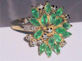 14K Yellow Gold Emerald & Diamond Ring - Certified $4,670.00