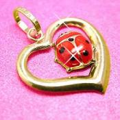 10K Yellow Gold Lady Bug Design Heart Charm Pendant